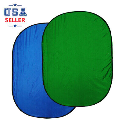 5x7ft Collapsible Reversible Foldable Popup Blue Green Screen Photo Background