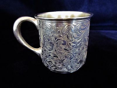 """Antique C A Vanderbilt  Engraved Sterling Silver 2 5/8"""" Baby Cup - 84 g. - Mono"""