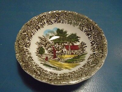Grindley Country Style Cereal Bowls Black and Gray w/Buildings