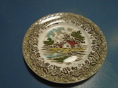 Grindley Country Style Salad Plates Black and Gray w/Buildings