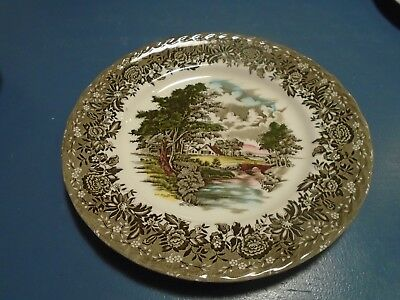 Grindley Country Style Dinner Plates Black and Gray w/Buildings
