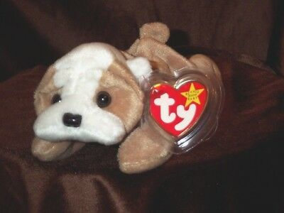 TY Beanie Baby Babies dog Wrinkles 4103 English Bulldog 5-1-1996 retired mint