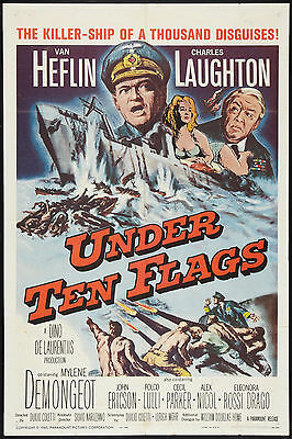 UNDER TEN FLAGS original 1960 WW2 one sheet movie poster MYLENE DEMONGEOT