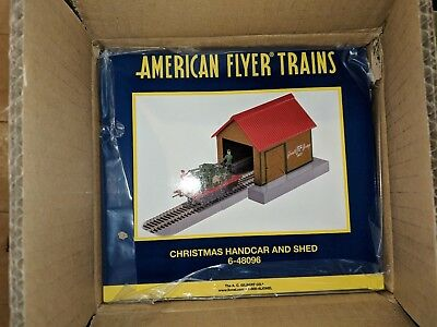 American Flyer S Gauge 6-48096 Christmas Hand Car and Shed w/OB &SB