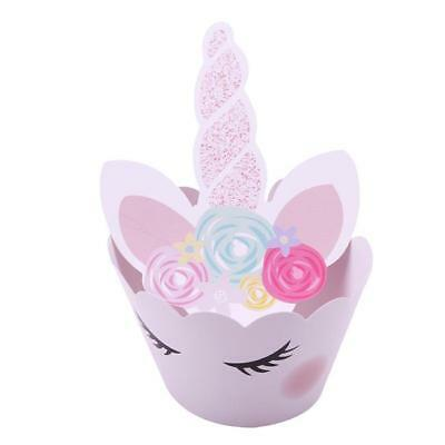 12/24x Unicorn Cupcake Wrappers Cupcake Toppers Baby Shower Kids Birthday Set LD