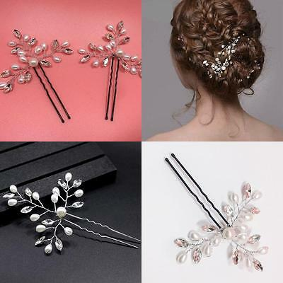 Bridal Pearl Hairpin Crystal Rhinestones Hair Clips Wedding U-shaped HairPin NEW