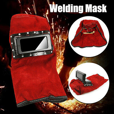 Foldable Leather Welding Helmet Weld Protective Gear Mask Cap Hood Shield Filter