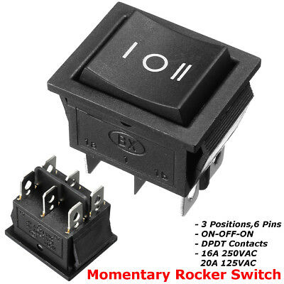 6 Pin 3 Position Hoist Boat ON-OFF-ON Momentary Rocker Switch DPDT 16A 250V AC