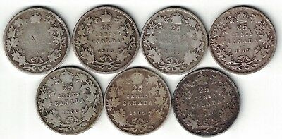 7 X Canada Twenty Five Cents Quarters King Edward Vii Silver Coins 1904 - 1910
