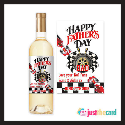Racing Car Happy Fathers Day Dad Personlised Wine Label