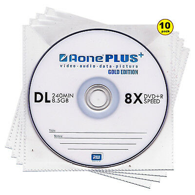 10x Aone Dual Layer DVD+R DL Gold Edition 8X 8.5GB Disc Branded In Sleeves New