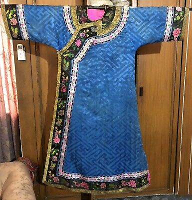 Antique Chinese Embroidery Silk Robe Sleeve Bands Brocade Butterflies Flowers