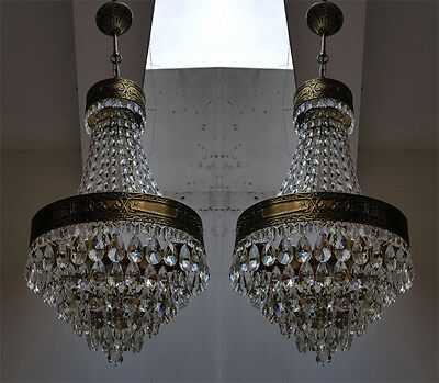 Pair of Antique Basket Style Brass & Crystals Oriental Chandeliers 1950's RARE!!