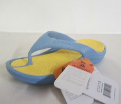 Kids Athens Toe Post Flip Flops- Light Blue/Yellow - UK Inf 12/13- Great Price!