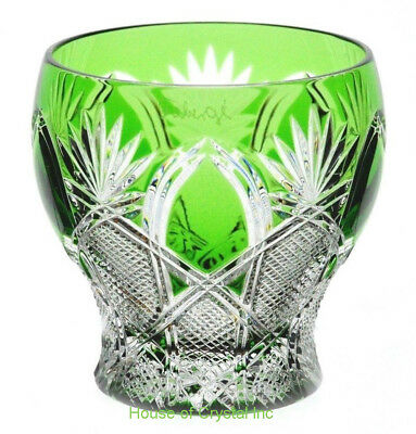 Faberge Czar Emerald Green Cut to Clear Cased Crystal Votive Candle Holder Signd