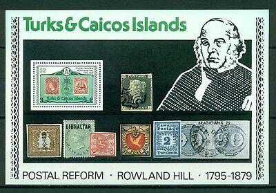 Turks & Caicos Islands Scott #397 MNH S/S OVPT Brasiliana Sir Rowland Hill $$