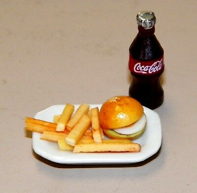 Dollhouse Miniatures, Combo Hamburger & Fries on a White Platter With Coca Cola