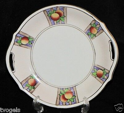 """Adorable Vintage Nippon Japan Hand Painted 6"""" Plate Handled Serving Plate Tray"""