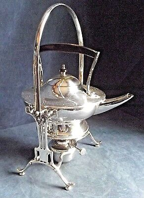 Good LARGE ~ SILVER Plated ~ ART NOUVEAU Style ~ Spirit KETTLE on Stand ~ c1900