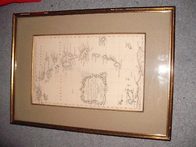 Rare Atlas original 1856 framed antique map Caribbee Islands, Caribbean Islands