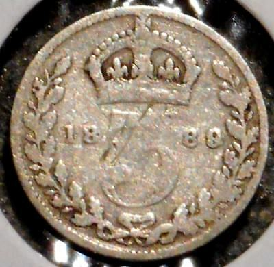 British Silver Threepence - 1889 - Queen Victoria - $1 Unlimited Ship