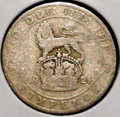 British Silver Sixpence - 1921 - King George V - $1 Unlimited Shipping
