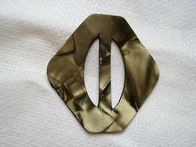 Vintage Art Deco Pearlized Olive Moonglow Laminated Celluloid Slide Buckle