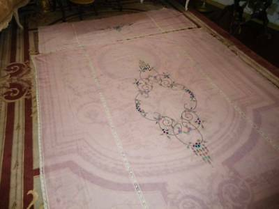 Vtg 1920's~30's Pink Lawn Cotton 2Pc Bedspread Embroidered With Insertion Lace