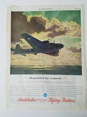 1943 WWII era Studebaker Flying Fortress airplane color vintage ad
