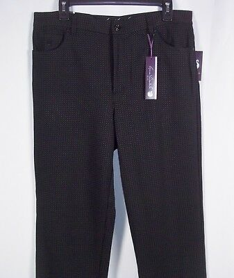 Gloria Vanderbilt AMADA Ponte Pants Black & Grey Print Dress Pant Wear to Work