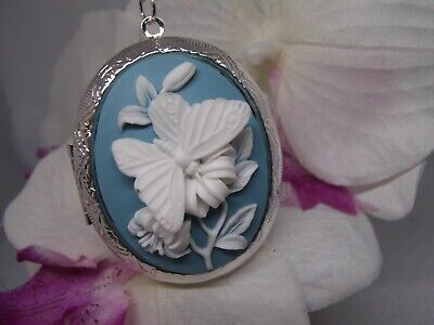 Mothers Day Grandma Locket Cameo Butterfly Blue White Wedding Gift Photo Memory