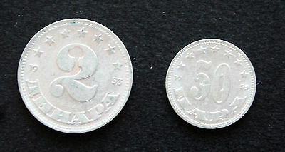 Lot of 2 coins - YUGOSLAVIA - 1953 50 HAPA & 1953 - 2 ANHAPA