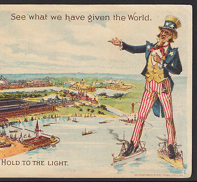 Everett Piano 1892 Chicago Exposition WCE Uncle Sam HTL novelty Advertising Card