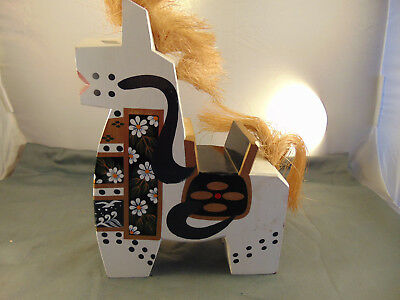 """Handcrafted wooden horse hand painted straw tail & mane colorful folk art 13"""""""