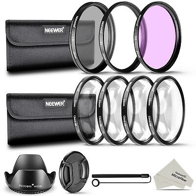 Neewer 55mm Lens Filter Accessory Kit UV CPL FLD Macro Close Up Set +1 +2 +4 +10