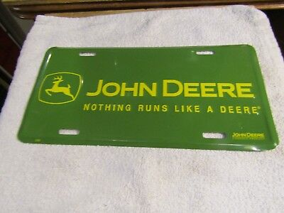 "John Deere Nothing Runs Like a Deere Metal License Plate 12"" x 6"" 2187 New Stock"