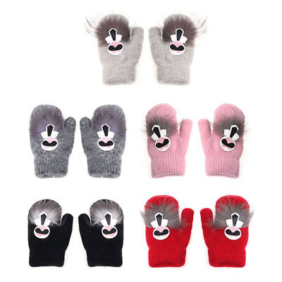 Kids Gloves Knitted Cute Cartoon Mitten Winter Warm Hands Velvet Girls Children