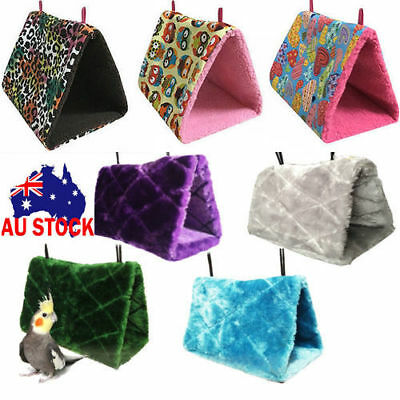 Fluffy Bird Parrot Hammock Hanging Cave Cage Plush Snuggle Happy Hut Tent Beds