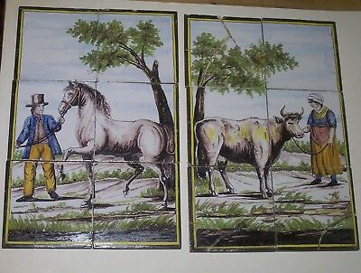 Delft Tiles c. 18th - 19th  century    Farmer with horse & his Wife with a cow