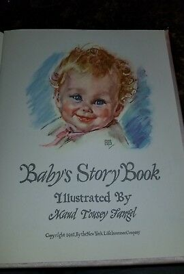 Vintage 1941 Girls Pink Satin Cover Baby's Memory Story Book. In original box.