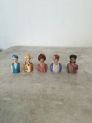 Collection of 5 Avon Lady Head Thimbles