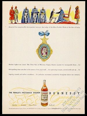1946 Hennessy Cognac Most Exalted Order of the Star of India medal print ad