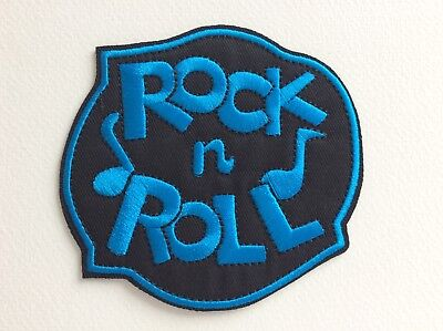 D125 // Ecusson Patch Aufnaher Toppa / Neuf / Rock N Roll Bleu 10*9,5 Cm
