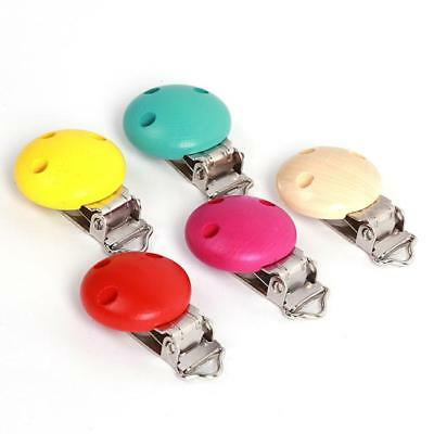 1PC Baby Pacifier & Soother Clips Wooden 3 Holes Different Colors Teat Clips C