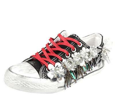 Womens Rhinestones Bling Casual Sneakers Lace Up Sequins Flowers Canvas Shoes