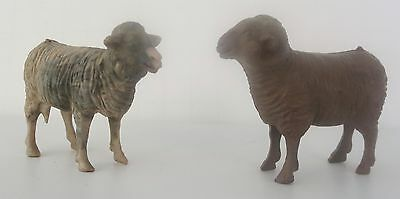 Vintage Bergen Farm Animals- Lot Of 2 Spotted- Sheep And Ram - Plastic- Textured