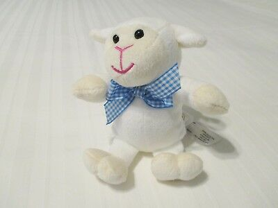 "8"" Animal Adventure White Lamb Sheep w/ Gingham Bow Plush Toy 2016 VGC"