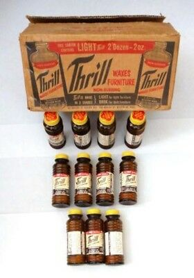 LOT antique 11 BOTTLES of THRILL FURNITURE WAX POLISH w/ORIG.BOX and CONTENTS