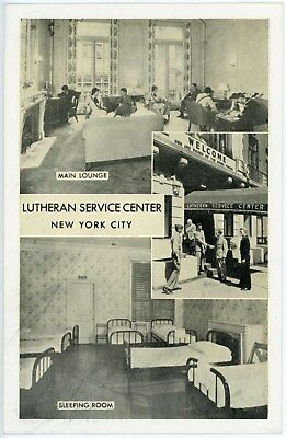 American Ww2 Luthern S'vice Center New York City Post Card Usn Us Army Usaaf Etc