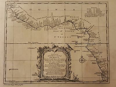1700s antique MAP CHART WESTERN COAST AFRICA drawn from FRENCH CHART  in 1738
